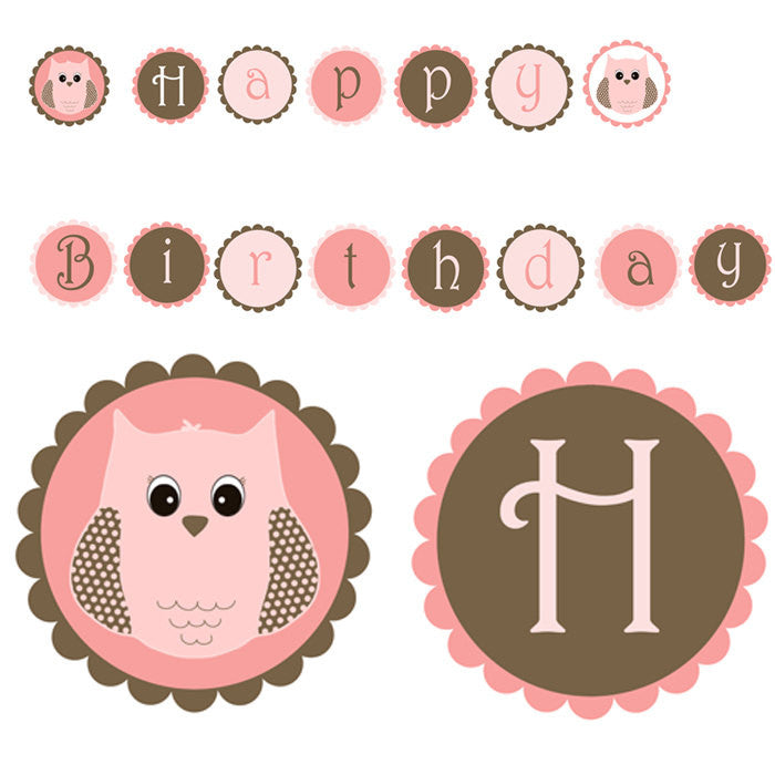 Owl Birthday Party Banner Pink Brown