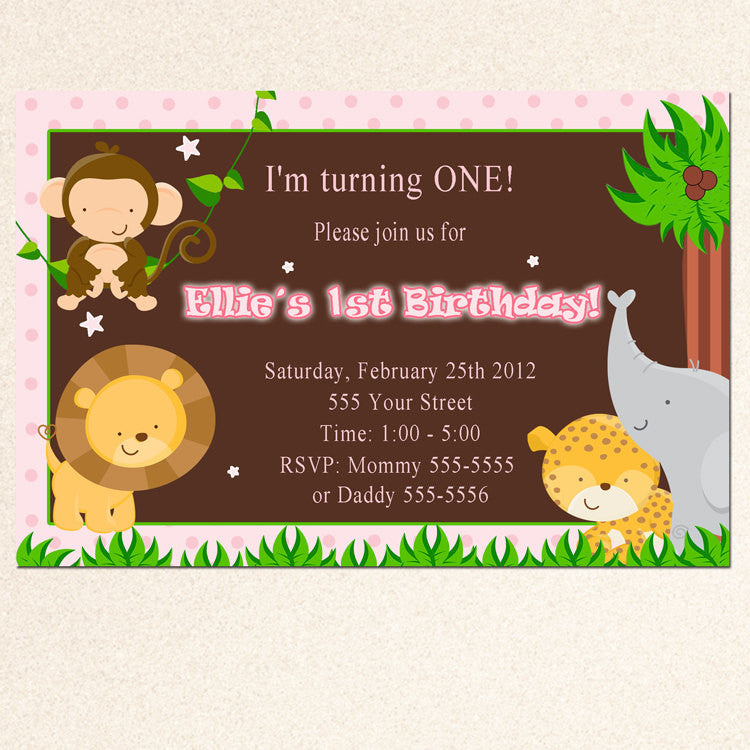 jungle invitation pink brown girl birthday baby shower pink the cat