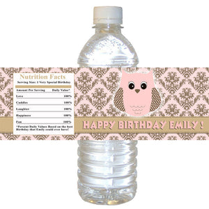 Owl Pink Bottle Label Birthday Baby Shower