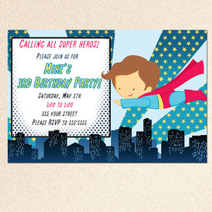 Fly Superhero Invitation Boy Birthday Baby Shower