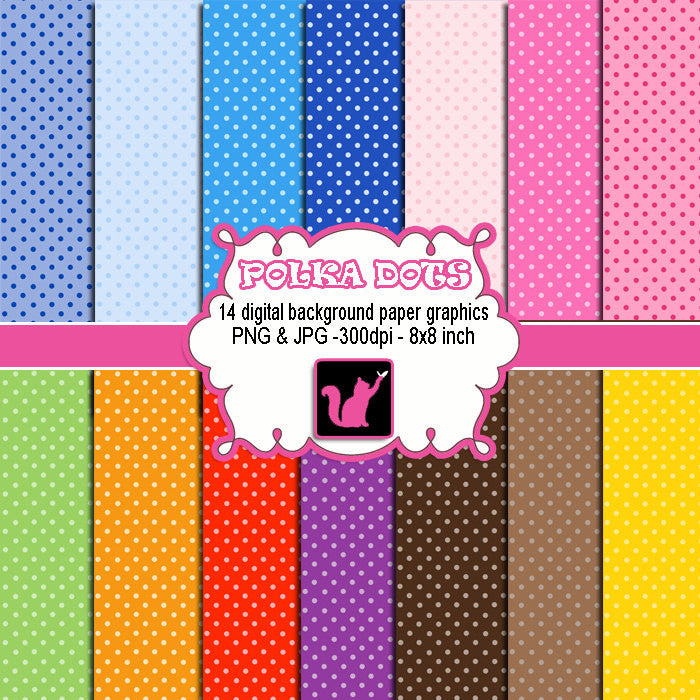 Polka Dots Clipart Digital Background
