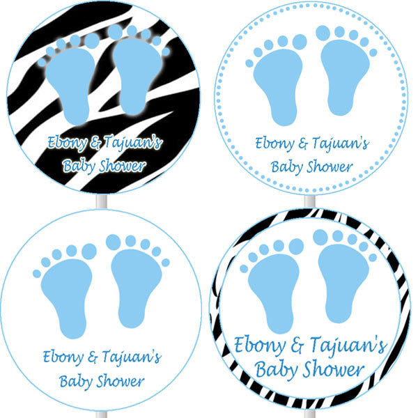Blue Zebra Baby Shower Cupcake Toppers
