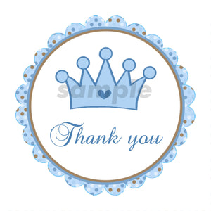 Prince Labels - Prince Tags Prince Thank You Stickers Prince Baby Shower Labels Blue Brown Prince Crown - Prince Favor Tag INSTANT DOWNLOAD