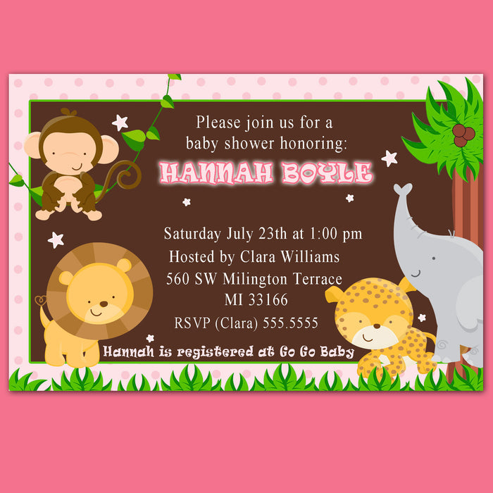 Jungle Invitation Baby Girl Shower Pink Brown