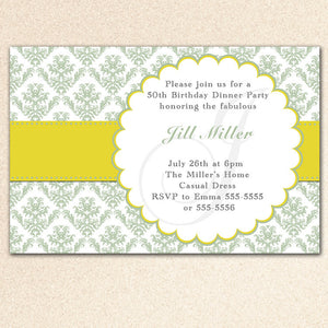 sage green damask invitation
