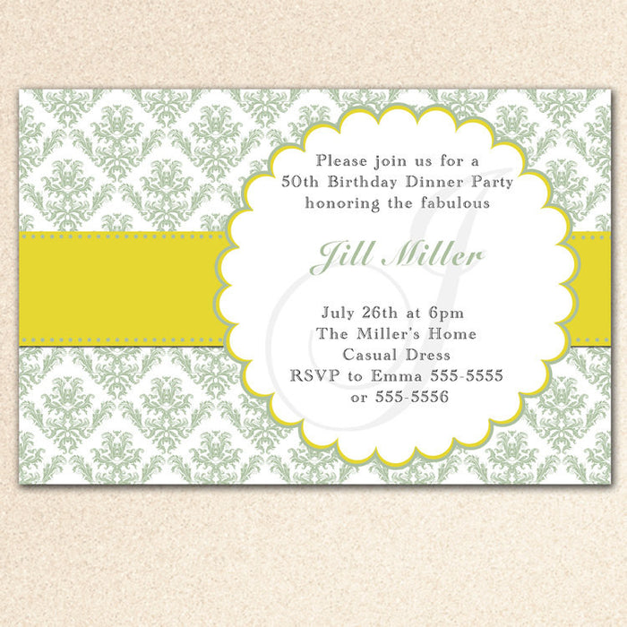 Sage Green Damask Adult Birthday Invitation