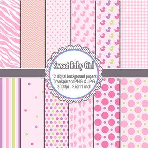 Baby Girl Shower Clipart Pink Stars Zebra Polka Dots Digital Paper