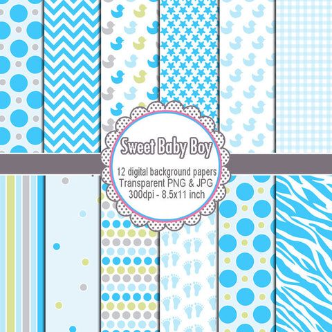 Boy Boy Shower Clip Art Digial Background Papers Clipart