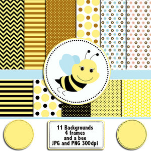 Bumble Bee Clipart Background Papers Frames Clip Art