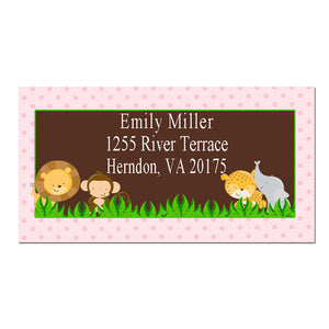 Personalized Printable Address labels - Jungle Baby Girl Shower or Zoo Birthday Party Pink Dots Safari Animals Monkey Lion Cheetah Elephant