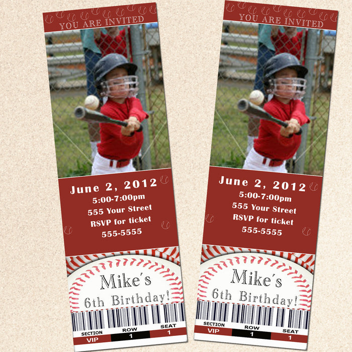 Baseball Invitation Kids Adults Birthday Photo Ticket Red