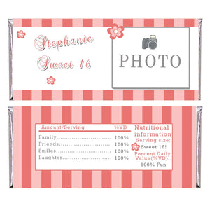 Adult Birthday Candy Bar Wrapper Label Sweet 16 Coral