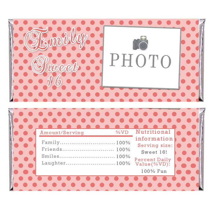 Girl Birthday Candy Bar Wrapper Sweet 16 Photo Label Coral