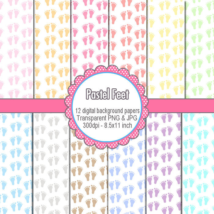 Baby Feet Clipart Digital Background Baby Shower Girl Boy