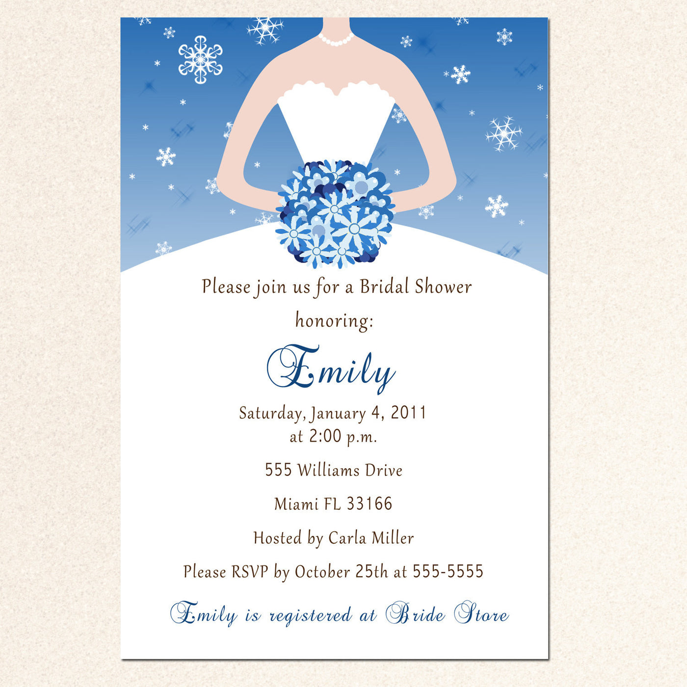 winter bridal shower invitation snowflake blue printable bridal shower invitation