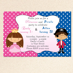 pirate princess twins invitation