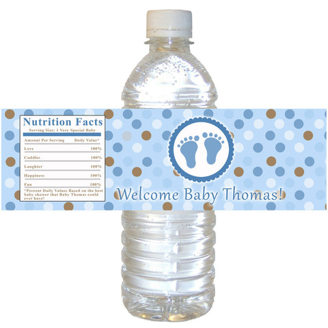 Baby Shower Blue Feet Bottle Label