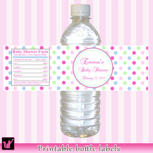 Pink Blue Green Bottle Label Birthday Baby Shower Printable