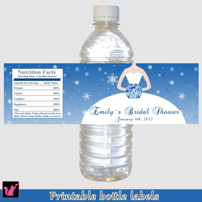 Winter Blue Snowflakes Bridal Shower Bottle Label