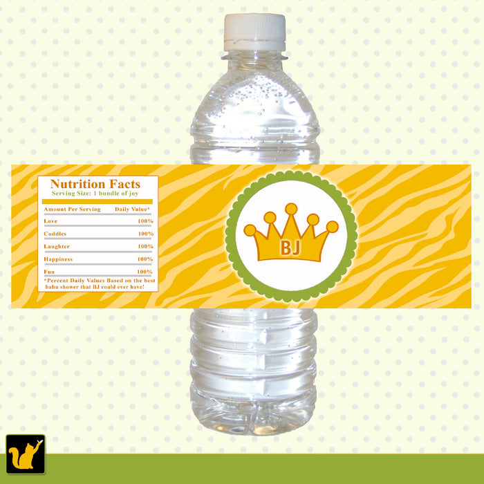 Yellow Jungle Zebra Prince Bottle Label