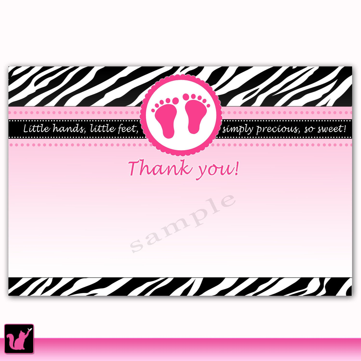 Instant Download Zebra Baby Shower Blank Thank You Card Pink Baby