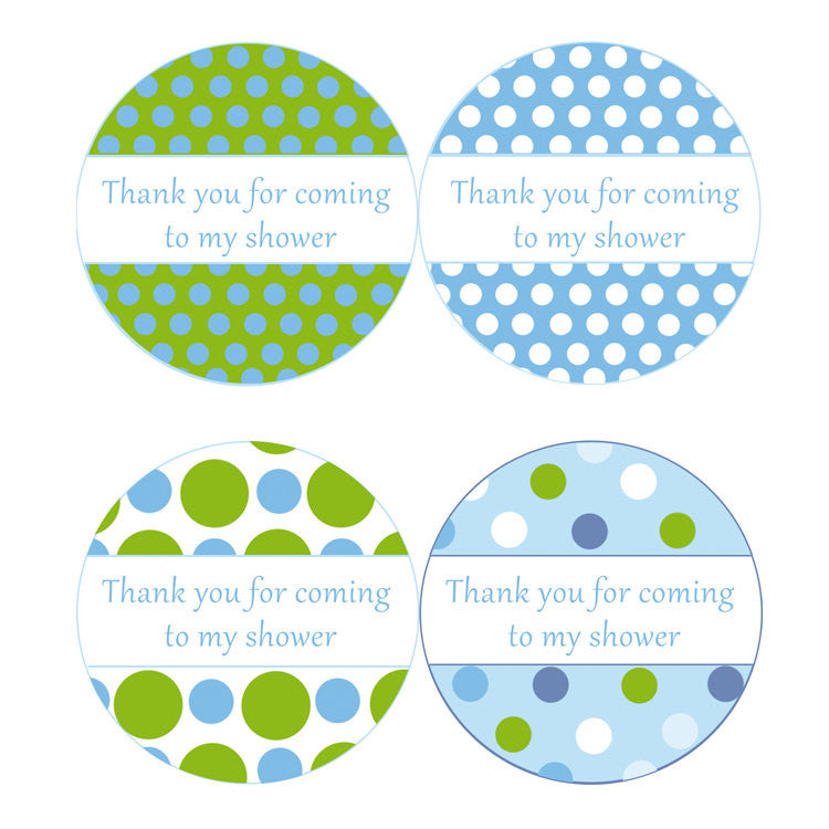 instant download blue green polka dots baby shower party thank you