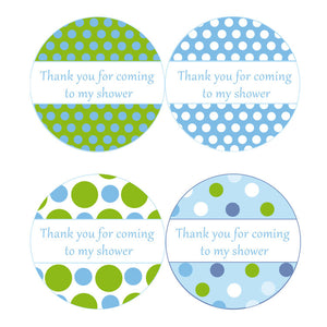 INSTANT DOWNLOAD Blue Green Polka Dots Baby Shower Party Thank You Tags - Baby Shower Favors Party Favors Stickers