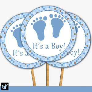 Footprints Blue Brown Baby Boy Shower Cupcake Topper Printable