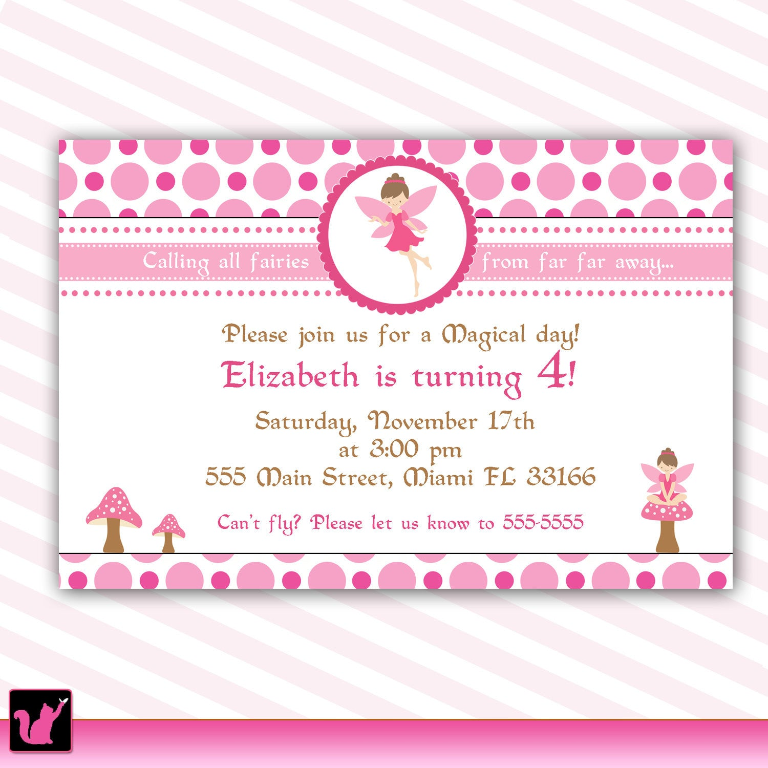 Pixie Invitation Girl Birthday Fairy Party – Pink The Cat