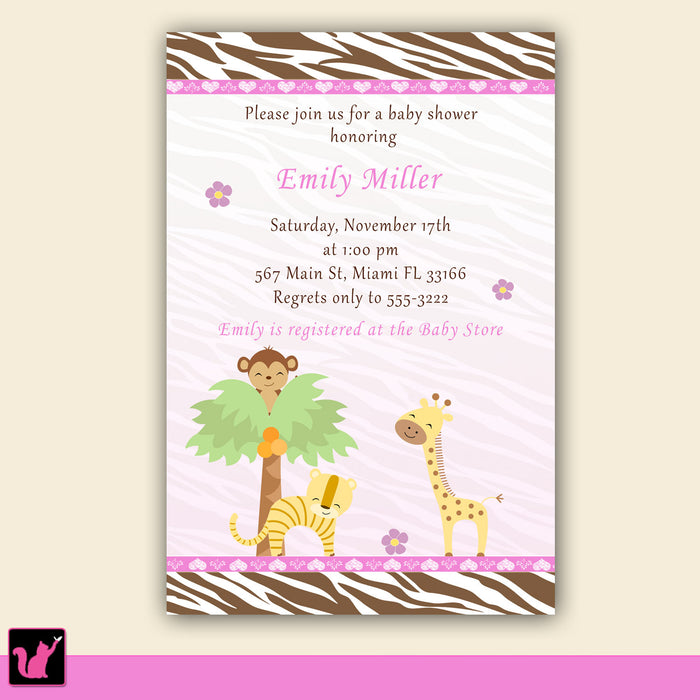 Jungle Baby Girl Shower Invitation Pink Brown