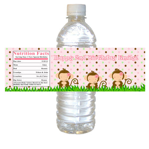 Pink Monkey Bottle Label Birthday Baby Shower