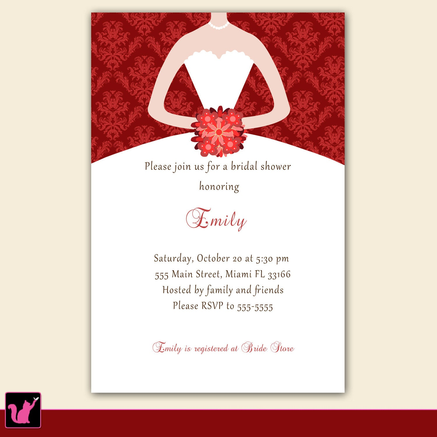 Dress Invitation Bridal Shower Sweet 16 Red Damask – Pink The Cat
