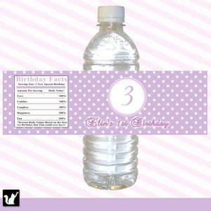 Pink Purple Polka Dots Birthday Bottle Label