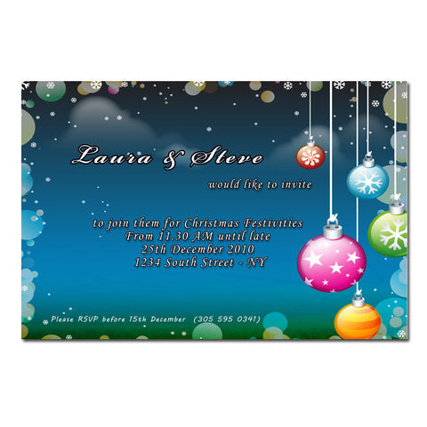 Blue Ornaments Christmas Holiday New Year Invitation Printable