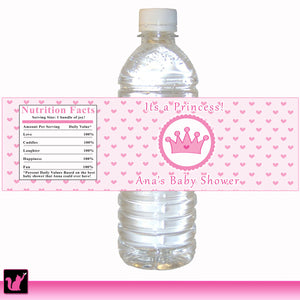 Princess Pink Hearts Bottle Labels Birthday Baby Shower Printable