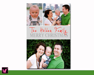 Christmas Greeting Card Family Name Personalized With Pictures Printable