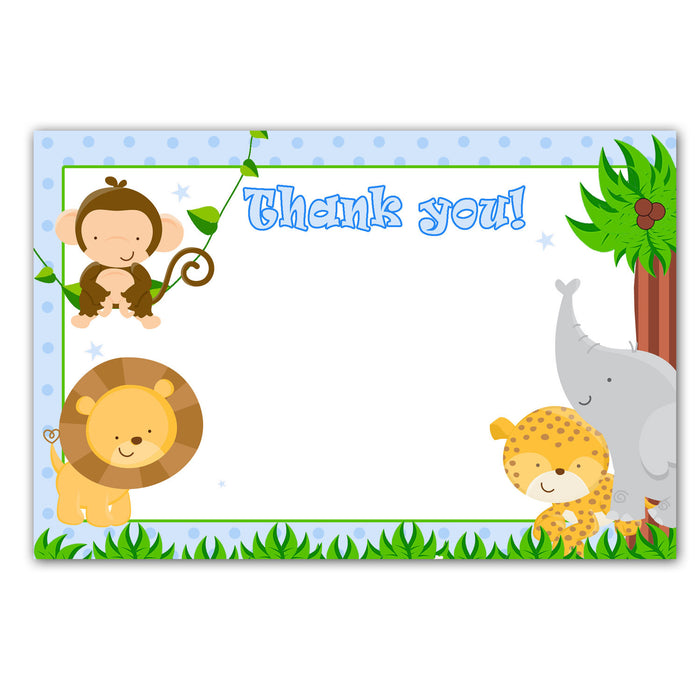 Printable Jungle Animals White Blank Thank you card - Baby Shower or Birthday Blue Boy Monkey Lion Note INSTANT DOWNLOAD