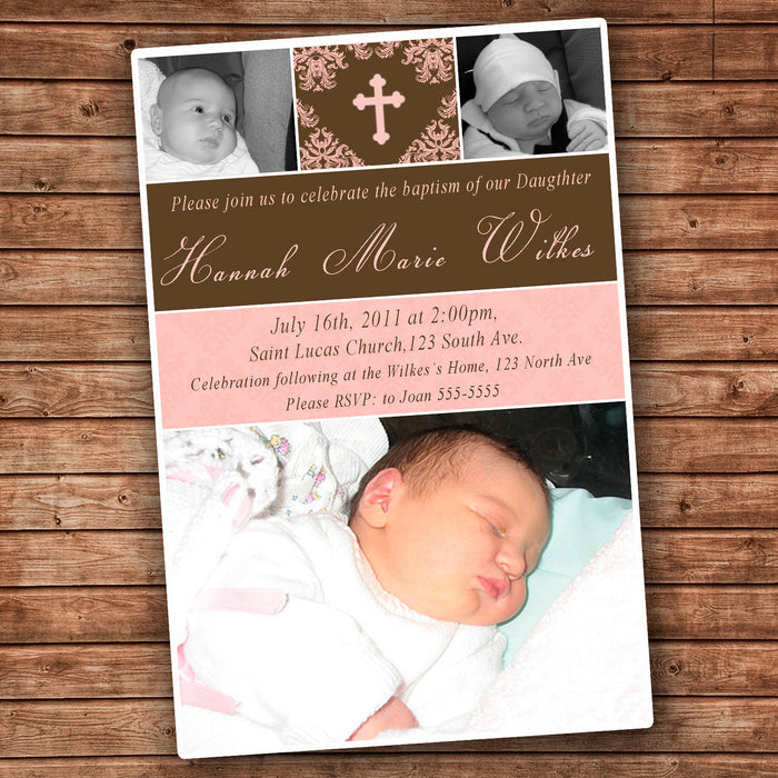 Girl Baptism Christening Invitation Photo Card Pink