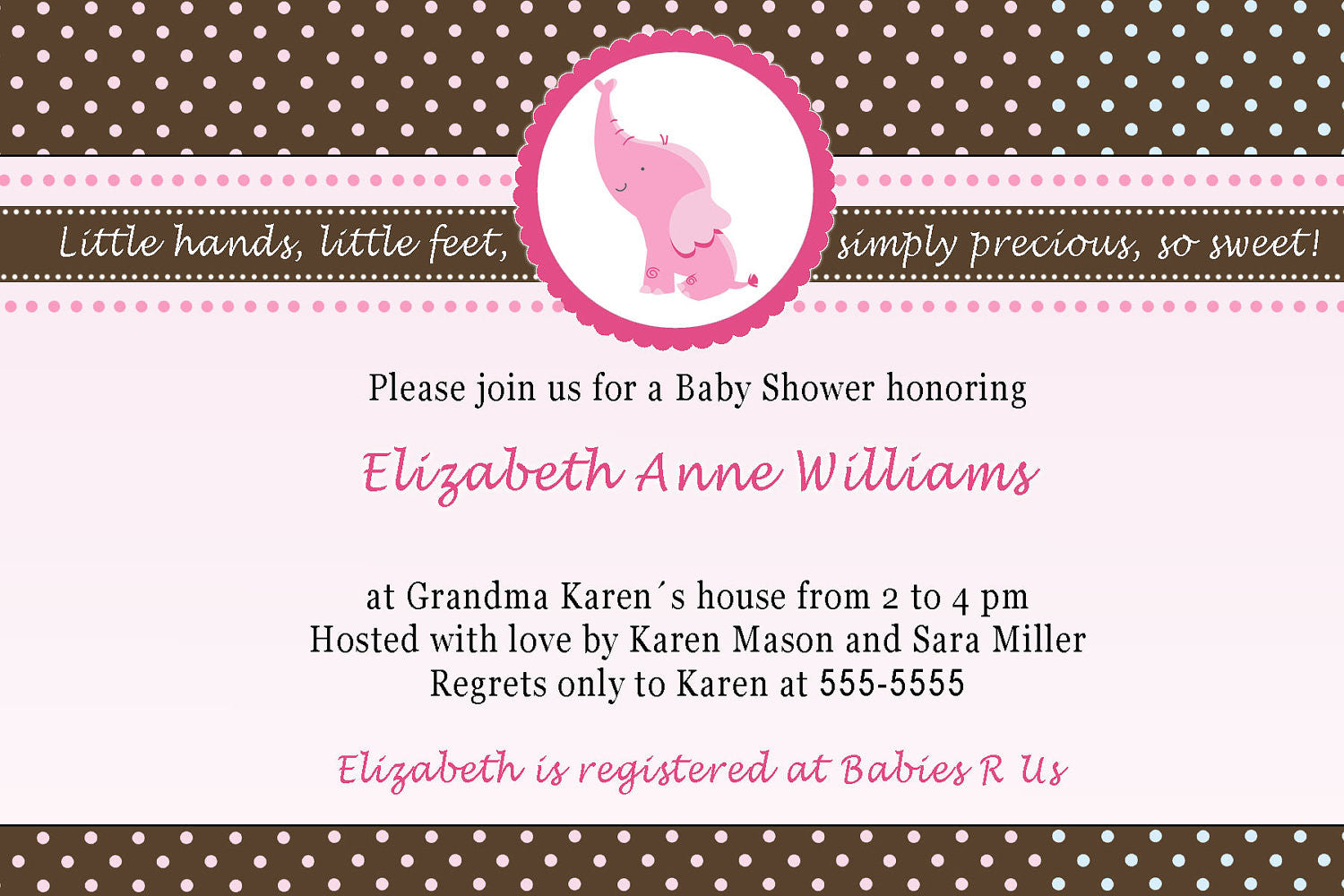 Elephant Invitation Baby Girl Shower Pink Brown – Pink The Cat