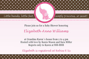 elephant pink bown baby shower invitation