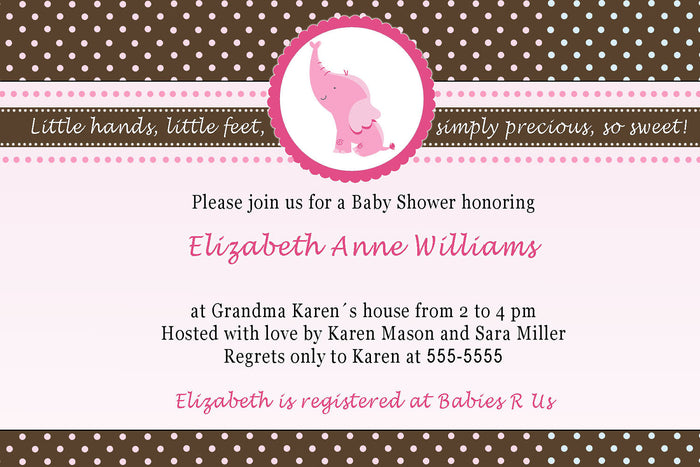 Elephant Invitation Baby Girl Shower Pink Brown