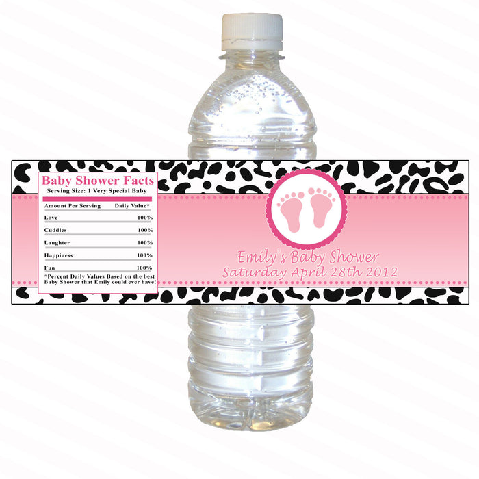 Pink Leopard Bottle Label Baby Girl Shower
