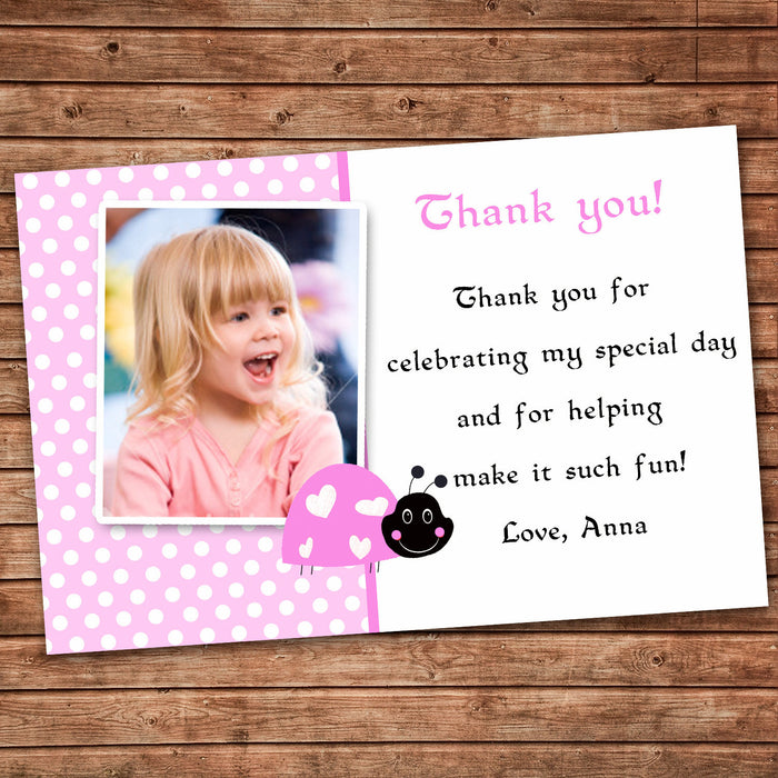 Pink Ladybug Thank You Note Photo Card Girl Birthday