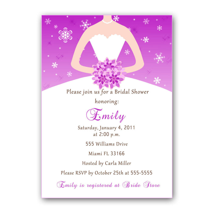 Winter Wonderland Dress Invitation Bridal Shower Purple