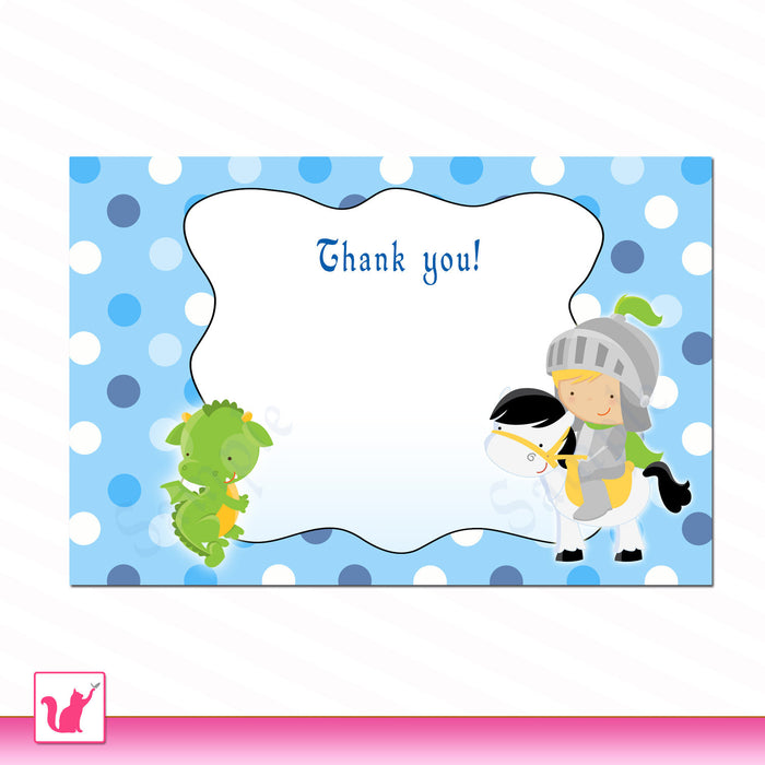 Knight Dragon Blank Thank you Card Birthday Party or Baby Boy Shower - Note Printable INSTANT DOWNLOAD