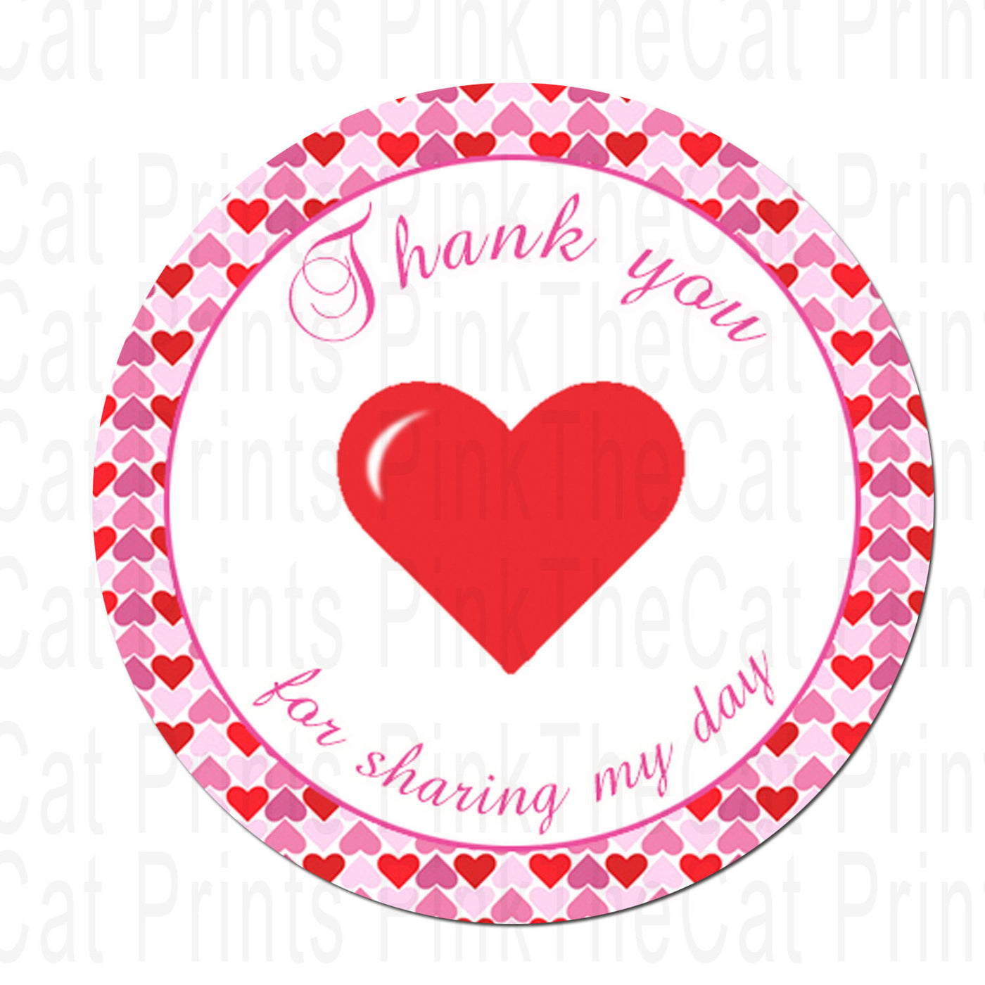 graphic about Printable Circle Stickers known as Immediate Obtain Printable Valentines Encouraged Bash Thank Your self Tag - Female Child Shower Favors Birthday Social gathering Favors Occasion Circle Stickers