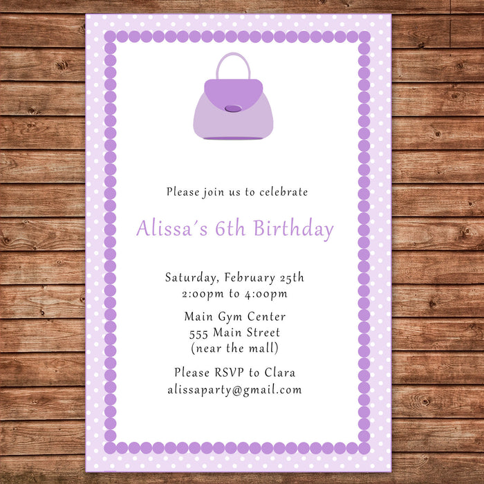 Glamour Purple Purse Invitation Girl Birthday Party