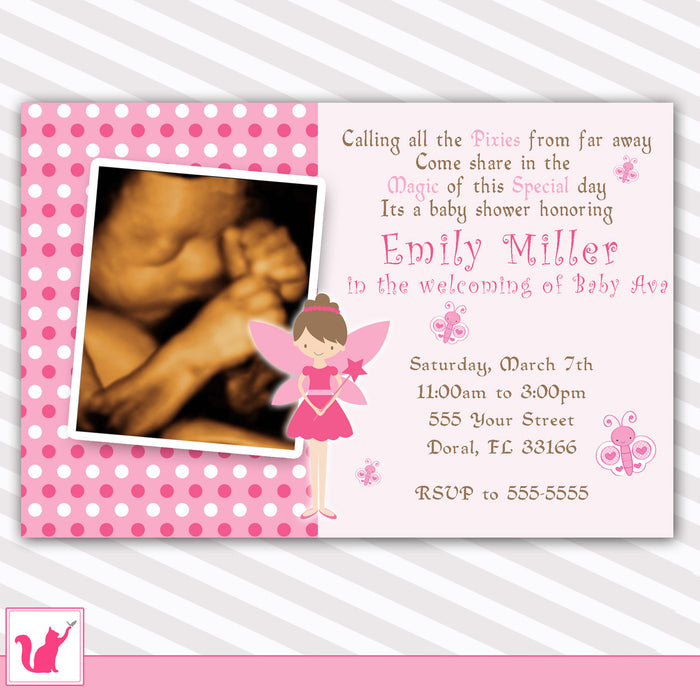 Fairy Baby Girl Shower Invitation Photo Card Pixie Pink