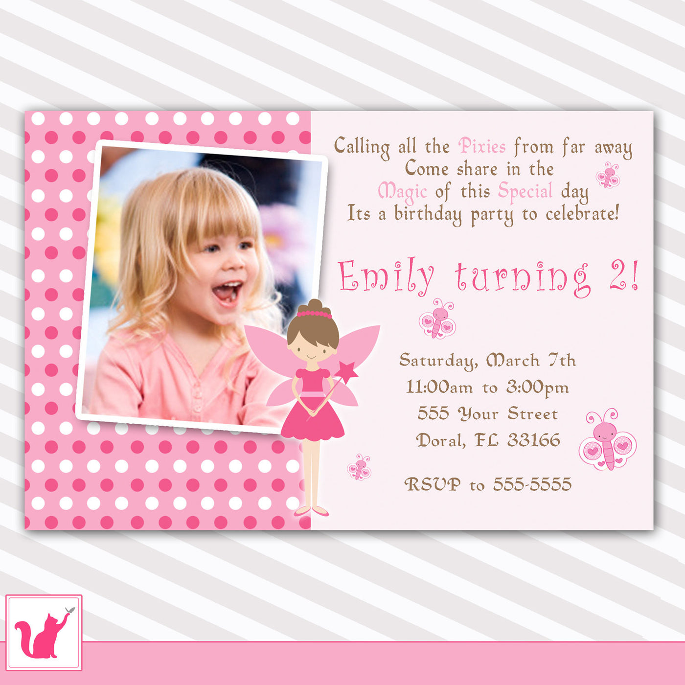 Fairy Invitation Girl Birthday Invitation Photo Card