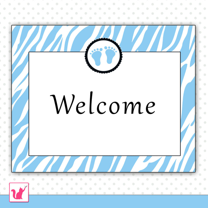 Baby Shower Welcome Sign Blue Zebra